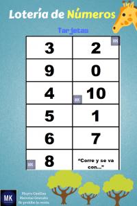 preescolar lotería de números del 1 al 10