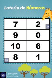lotería de números del 1 al 15 para imprimir