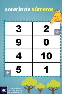 lotería de números del 1 al 20 para imprimir en color