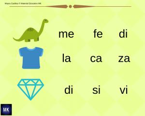 sílabas para imprimir con dibujos