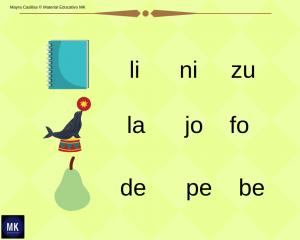 silabas para imprimir y formar palabras