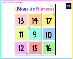 bingo de números pdf