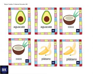 imágenes de frutas y verduras de memorama