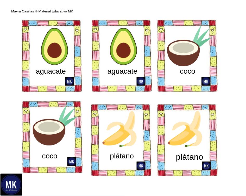 Memorama De Frutas Y Verduras 🍇 【Para Imprimir 】