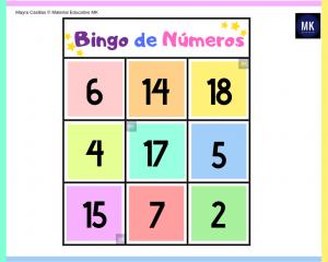 bingo de números infantiles