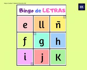 cartelas de bingo de letras